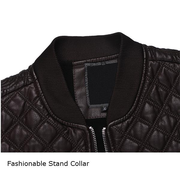 Vintage Classical Thick Fleece Warm Motorcycle PU Leather Jacket Stand Collar Coat For Men