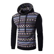 Mens Hoodies Retro Ethnic Style Pattern Printing Fashion Casual Sport Hooded Tops
