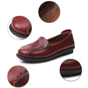 Leather Hollow Out Soft Slip On Flat Breathable Shoes