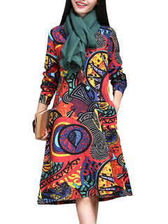 Vintage Folk Style Colorful Printed Long Sleeve A-Line Dress For Women