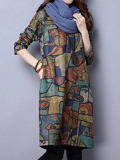 Women Printed O-Neck Long Sleeve Pocket Straight Knee-Length Dress