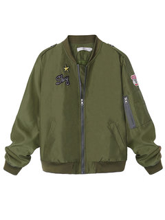 Army Green Cool Girl Star Women Baseball Bomber Jacket