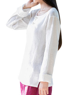 Women Vintage Pure Color Plate Buckles Long Sleeve Shirts