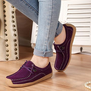 Leather Flat Driving Casual Lace Up Soft Shoes