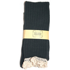 Crochet Lace Trim Cotton Knit Footed Leg Boot Cuffs Socks Knee High Stockings