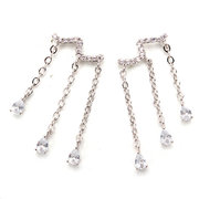 925 Sterling Silver Tassel Zircon Drop Earrings