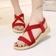 Pure Color Bandage Strappy Elastic Slip On Flat Beach Sandals