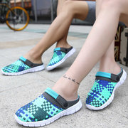 Big Size Colorful Knitting Weave Two Way Wearing Slip On Flat Beach Shoes