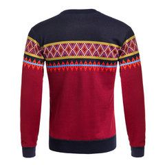 Mens Fall Winter Knitting Sweater Thick Warm Stripes Pattern Long Sleeve Tops