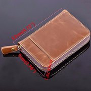 20 Card Slots Card Holder Genuine Leather Zipper Coin Purse Wallet For Woman Man