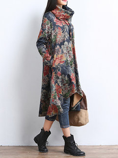 Vintage Flower Printed Long Sleeve High Low Dress With Detachable Collar For Women