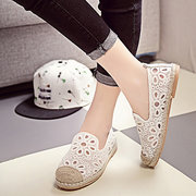 Women Lazy Shoes Breathable Round Toe Flat Shoes Flowers Pattern