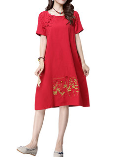 Vintage Embroidery Short Sleeve Pure Color Dress For Women