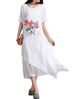 Floral Printed Layers Patchwork Vintage Women  Dress