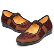 Vintage Elastic Flat Flower Print Slip On National Wind Casual Shoes