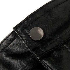 Plus Size Thick Warm Fleece Lined PU Leather Pants Straight Leg Fashion Motorcycle Pants For Men