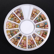 3D Colorful White Pearl Rhinestones Metal Nail Art Decoration Wheel