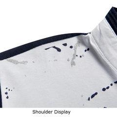 Мода Всплеск-чернила футболки Короткие рукава стенд воротник Повседневная Polo Top тройники для мужчин