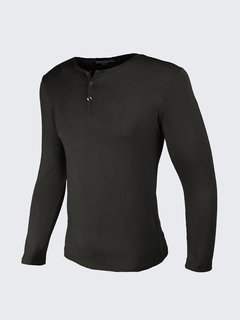 Household Casual Botton Collar T-shirt Round Neck Long Sleeved T-shirt For Men