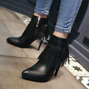 Ankle High Heel Boots Sexy Tassel Pointed Toe Boots Ladies Fashionable Boots