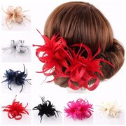Feather Flower Headband Clip Wedding Fascinator Party Carnival Accessories