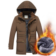 Winter Outdoor Casual Thicken Warm Loose Detachable Hood Padded Jacket for Men