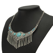 Vintage Tassel Necklace Alloy Turquoise Collar Necklace for Women