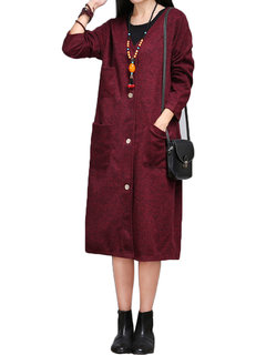 Elegant Casual Pure Color Long Sleeve Button Cardigan Coat For Women
