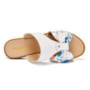Floral Print Leather Hollow Out Butterflyknot Slip On Beach Flat Sandals