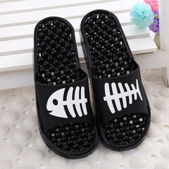Massage Pattern Fish Bone Slip On Flat Peep Toe Home Bathroom Slippers
