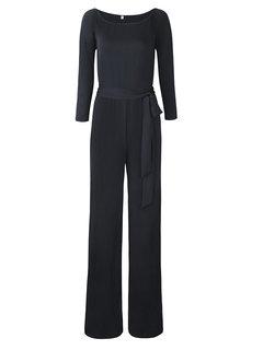 Women Casual Off-shoulder Wide Leg High Waist Long Sleeve Jumpsuit