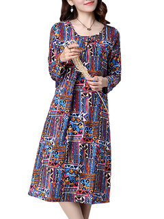 Vintage Ethnic Printed Loose Pleated Design Long Sleeve Women Dress