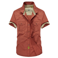 Summer Big Size Casual Military Style Turndown Collar Short Sleeve Cotton Shirts For Men