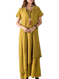 Vintage Tunic Short Sleeve Pure Color Long Maxi Dress For Women