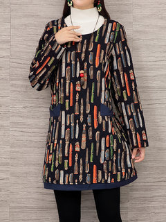 Casual Printed Long Sleeve O-Neck Cotton Mini Dress For Women