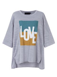 Women Loose Letters Printed O-Neck Short Sleeve Irregular T-Shirt
