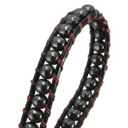 4MM Hematite Beaded PU Leather Wrap Bracelet
