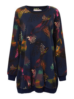 Women Loose Long Sleeve O Neck Feather Printed Straight Dress