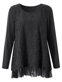 Elegant Lace Crochet Mesh Patchwork O neck Pleated Blouse For Women