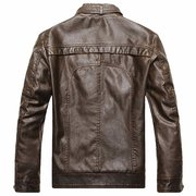 Fall Winter Fashion PU Leather Jacket Stand Collar Motorcycle Outwear for Men