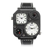 OULM Men Watch Leather Double Movement Thermometer Compass Watch