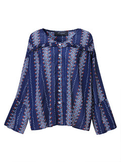 O-Newe Plus Size Printed V-Neck Trumpet Sleeves Shirt For Women