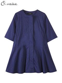 O-NEWE Women Casual Zipper Pure Color Half Sleeve Cardigan Coat