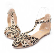 Leopard Leather T Strap Buckle Cover Toe Flat Sandals Shoes