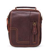 Мужчины Casaul из натуральной кожи Открытый Crossbody сумка Досуг Zipper сумки