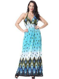 Sexy Printed V-Neck Strap Backless Bohemian Beach Maxi Dress For Women