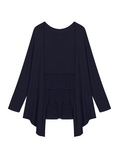 Casual Pure Color Long Sleeve Ruffled Thin Cardigan For Women