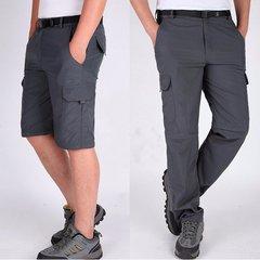 Mens Outdoor Multi function Detachable Quick Dry Shorts Elastic Waist Nylon Breathable Pants