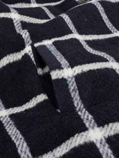 Plus Size Check Double Breasted Knit Patchwork Hood Woolen Coat