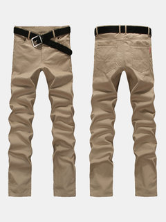 Casual Solid Color Long Trousers Slim Fit Plus Size Pants For Men